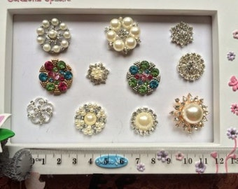 SUPPLY Metal Rhinestone Embellishments DIY PACKS Diamante Pearl Flatbacks