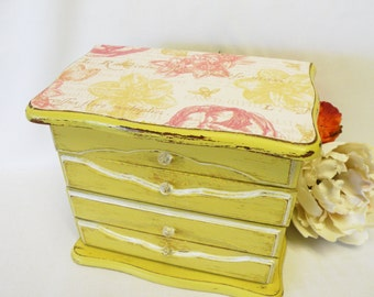 Painted Jewelry Box Vintage Upcycled - Yellow Gold - Shabby Chic, Cottage, Old World or Farmhouse Home Decor
