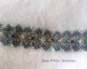 "bracelet ""lucrezia"" superduo turquoise and chocolate"