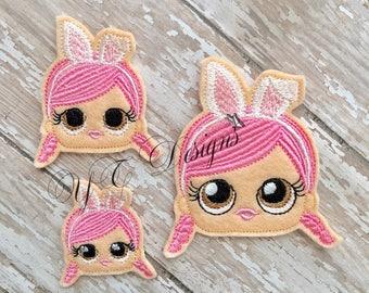 Giggle Doll Feltie Giggle Doll Bunny Bonnie Head Feltie Embroidery File