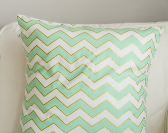 Free Shipping Spring !! Michael Miller Mint Gold Chevron Pillow cover