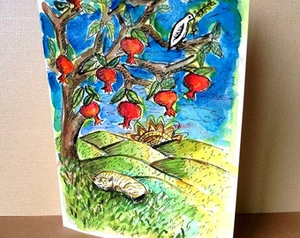 Ginger Cat, Pomegranate Tree and a Peace Dove, Hand Painted Card, Rosh Hashanah, Bar Mitzvah Card, Jewish Cat art, Jewish Wedding Card