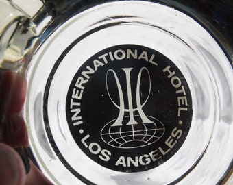 International Hotel Ashtray, Advertising Ashtrays, Smokey Glass Ashtray, Colorful Advertising Ashtray, International Hotel Los Angeles