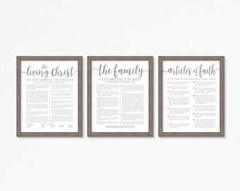 LDS-Family Proclamation-Living Christ & Articles of Faith set-Grey Text-Multiple Sizes available-LDS poster printables