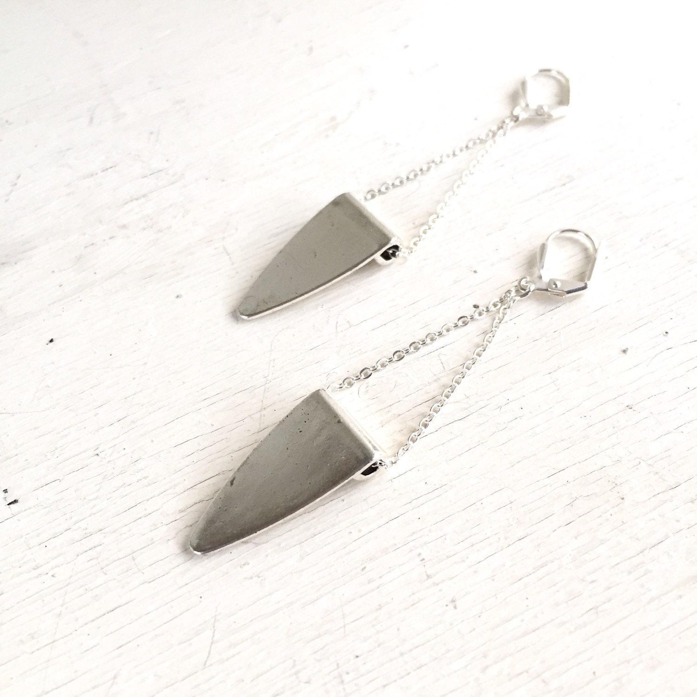 silver triangle chain earrings drop dangle silver jewelry geometric jewelry jewelry gift. Black Bedroom Furniture Sets. Home Design Ideas