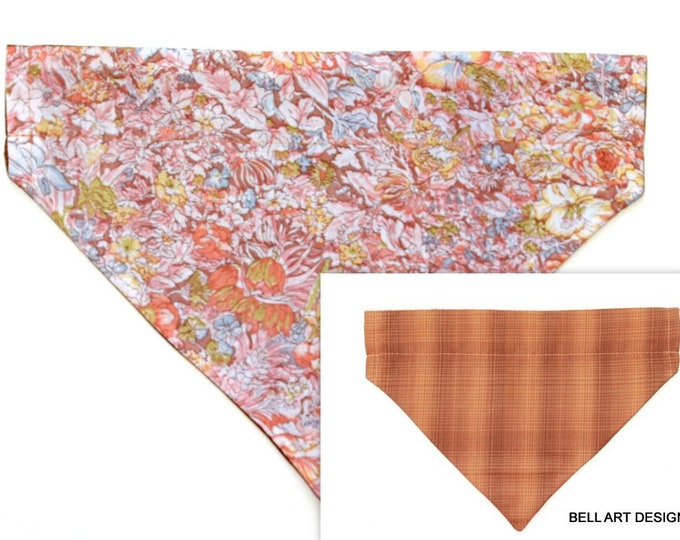 FLORAL ~ Over the Collar ~ Reversible ~ Dog Pet Bandana ~ Bell Art Designs ~ Large ~ DCL0574