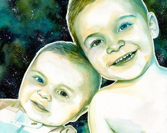 BABIES CUSTOM PORTRAIT, babies illustration, babies painting, painted from photo, gift for dad from children photo, dad gift, father gift