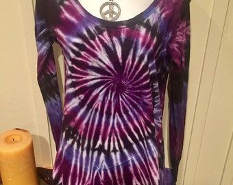 "Tye dye tshirt hoodie, ""modern chick hoodie"", black, lilac and purple tye dye shirt, cotton jersey long sleeve tshirt"