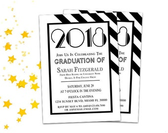 Modern Graduation Invitation - Printable Graduation Party Announcement 2018, High School / College Grad Party Invite, Your Words, Unisex