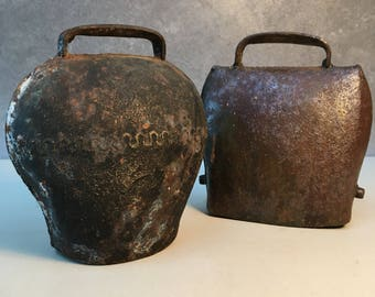 Pair of antique iron cow or livestock bells.