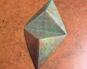 Origami Cell Phone Business Card Stand, Unique Business Card Holder, Copper Patina