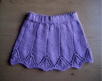 Girl's Skirt Knitting Pattern - Instant Download PDF  - in 6 sizes - newborn - 5yrs