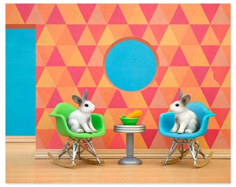 Eames mid century modern art print: Down The Rabbit Hole