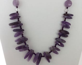 Amethyst and quartz beaded necklace