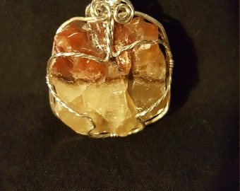 Brown Calcite with Sterling Silver