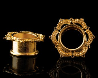 """Lotus tunnels, gold plated flower plugs, tribal mandala ear tunnel indian gold gauges brass 6g 4g 2g 0g 00g 1/2"""" 9/16"""" 5/8"""" 11/16"""" 3/4"""" Inch"""