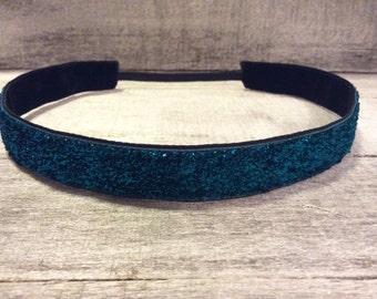 Sapphire Blue Sparkle Nonslip Headband, Noslip Headband, Sparkle Headband, Sports Headband, Running Headband, Athletic Headband