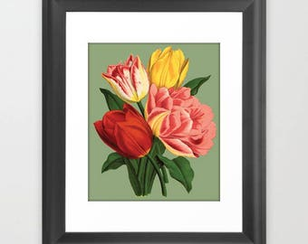 SALE! Vintage Tulip Flowers Print. Frame it Yourself and Save!