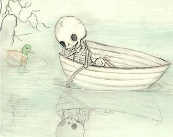 Skeleton Print, Nautical Boat Mallard Duck Print Reflection-- Reflecting