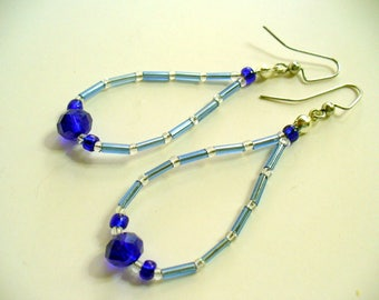 Blue Beaded Earrings, Clear, Cobalt Blue Beaded Dangle Earrings, Silver Earring, Long Dangle Earring, Womens Jewelry, Birthday Gift