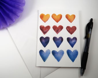 Rainbow Heart Watercolor Greeting Card watercolor heart greeting card
