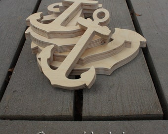 Wood Anchor DIY unfinished sanded and ready for paint 6 - 12 inches