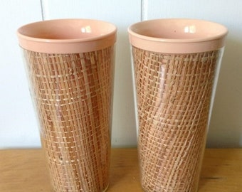 MEMORIAL DAY SALE vintage peach raffia straw weave melmac tumblers