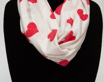 Infinity Scarf - Red Hearts On Heathered Ivory