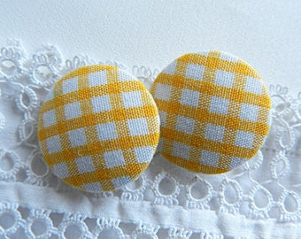 Fabric button yellow gingham, 24 mm in diameter
