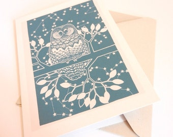 """greetings card - """"the contemplative owl"""""""