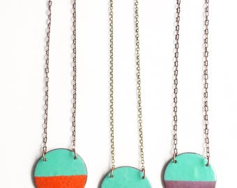 Circle Enamel Necklace- Choose a color!