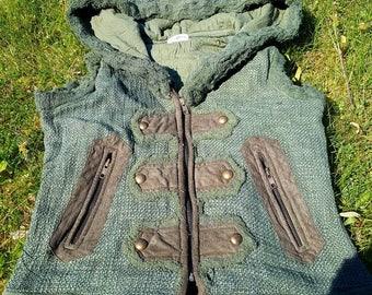 Delia bottons vest, gauze and hamp fabric, steampunk waistcoat, festival style, ozora, trance, hoody vest