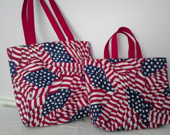 30% OFF SALE American Flag Cotton Tote Bag - This listing is for medium tote only. Large tote no longer available.