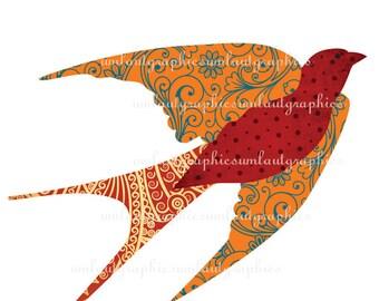 Digital Collage Sheet 6 x 8 Windung Vogel Grafik für Tshirts Kissen Beutel