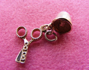 H) Vintage Sterling Silver Charm Scissors and thimble
