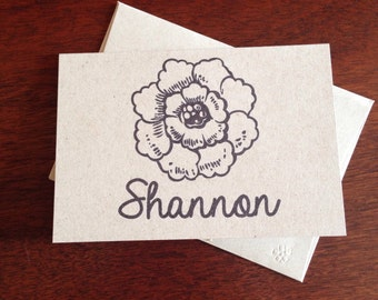 Flower Personalized Note Cards (set of 10)