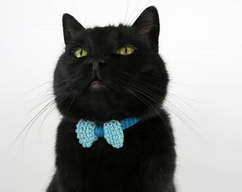 Cat collar, turquoise cat collar with bow, bow cat collar, breakaway cat safety collar, soft kitten collar, quick release cat collar