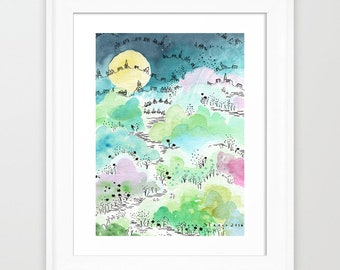 Abstract nursery art. Kids art print. Baby room art. Kids room decor.  Nursery wall art. Kids bedroom decor. Modern Kids art print