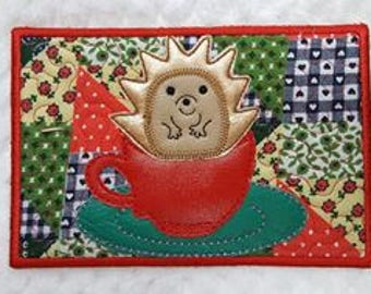 ITH Hedgehog Mug-rug. In the hoop project, machine embroidery design by Pixie Willow Patterns