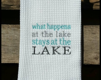 Embroidered Kitchen Towel, Kitchen Towels, Embroidered Towel, Housewarming Gift, Wedding Gift, Lake House Gift, Lake House, Dish Towel, Lake