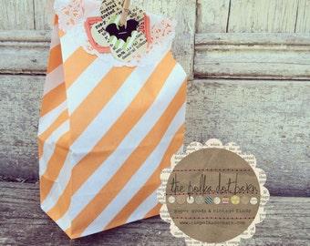 Orange diagonal Stripe Paper bag set of 10 - 10 Orange Stripe Party Bags - Stripe SOS Party Bags - Mini Popcorn Bags - Mini Party Candy Bags