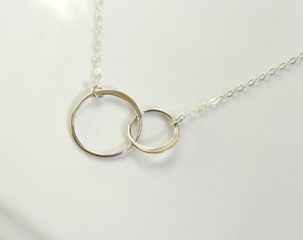 Interlocking Circles Necklace Sterling Silver, Two Connected Infinity Circles, Circles Necklace, Anniversary Present, Bridesmaid Jewelry