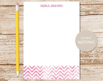 personalized chevron notepad . shabby chevron note pad . custom stationery . personalized stationary