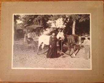 Antique Cabinet Photo HORSE and BUGGY w/ Woman & Boy