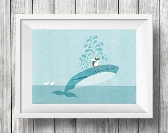 Bird Bath on Blue Whale, Nursery Animal Wall Art, Kids Room, Ocean, Penguin, Animals, Print
