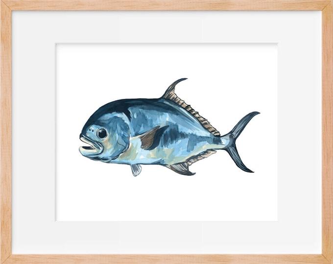Permit Fish Print, Sport Fishing, Permit Art, Fishing, Fish Art, Watercolor Fish, Fish Decor, Fishing Wall Art, Home Decor, Fishing Art, Art