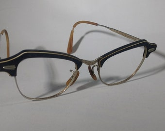 Vintage Bausch & Lomb EYEGLASS FRAME-Man?Woman?Child?-Small Size-Very Cool Horn Rim Style-No Lenses-Good Cond.for Age 40's-50's