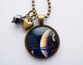 Planet Necklace - 1 Inch Galaxy Pendant - Saturn Rings - Space Jewelry - Galaxy Necklace -  You Choose Bead and Charm - Planet Jewelry