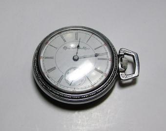 Vintage Elgin G.M.Wheeler Open Face Sidewinder Pocket Watch Works