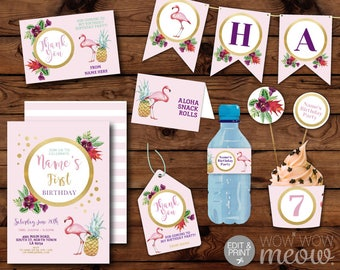 Flamingo Party Package Girl's Pink Invitation Birthday Invite INSTANT DOWNLOAD Banner Pineapple Decoration Printable Editable Personalize